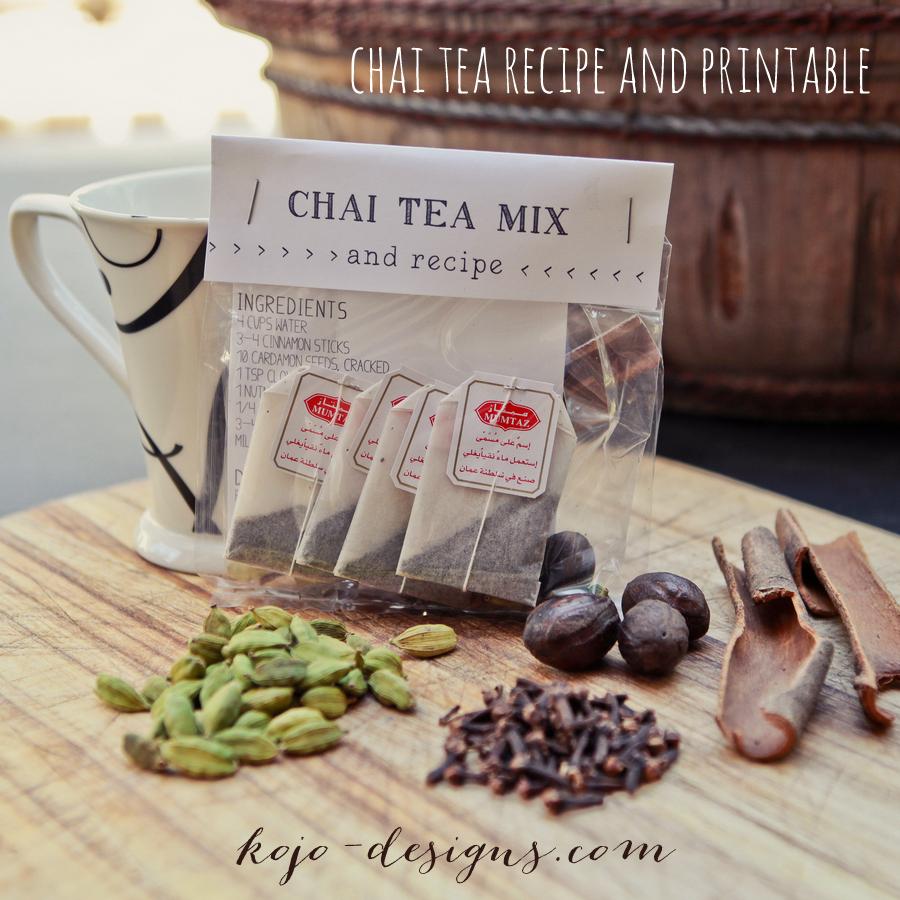chai tea recipe and free label