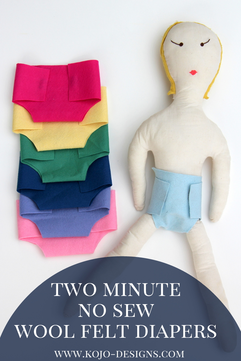 2 minute, no-sew, wool felt diaper tutorial