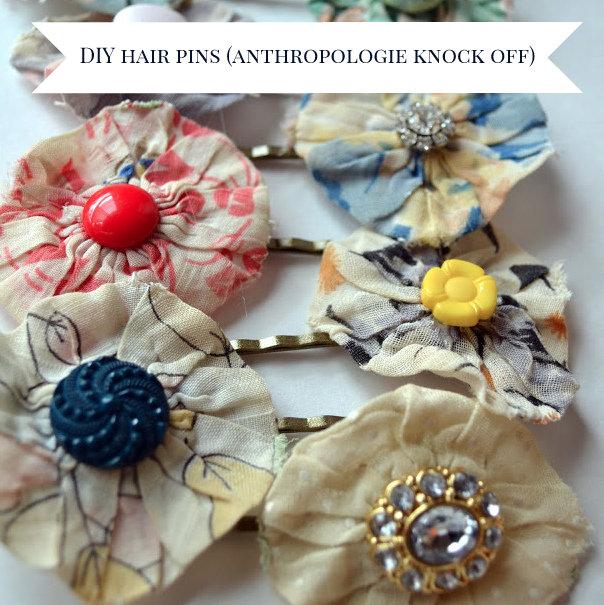 DIY vintage yo yo hairpins (anthropologie inspired)