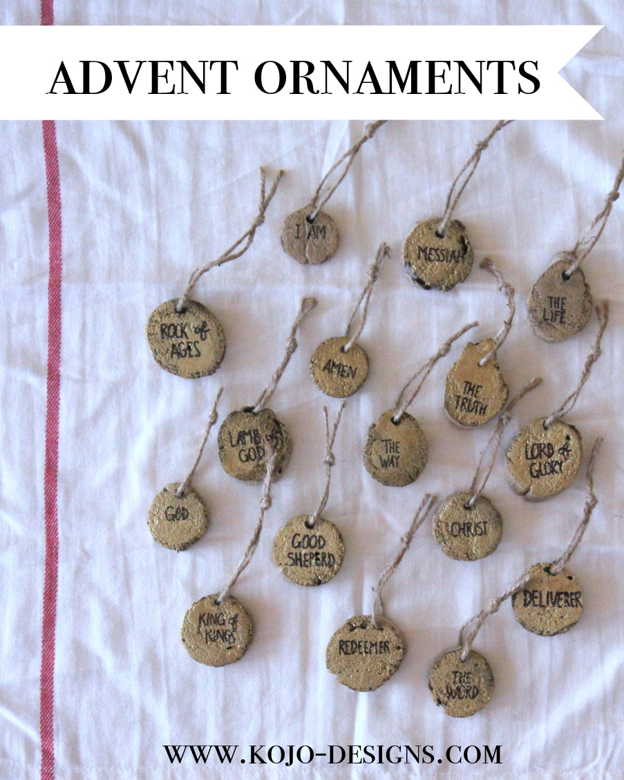 An advent countdown, but with a twist- each ornament has a name of God written on it (there are accompanying devotions using the Jesus Storybook Bible for the names they chose)