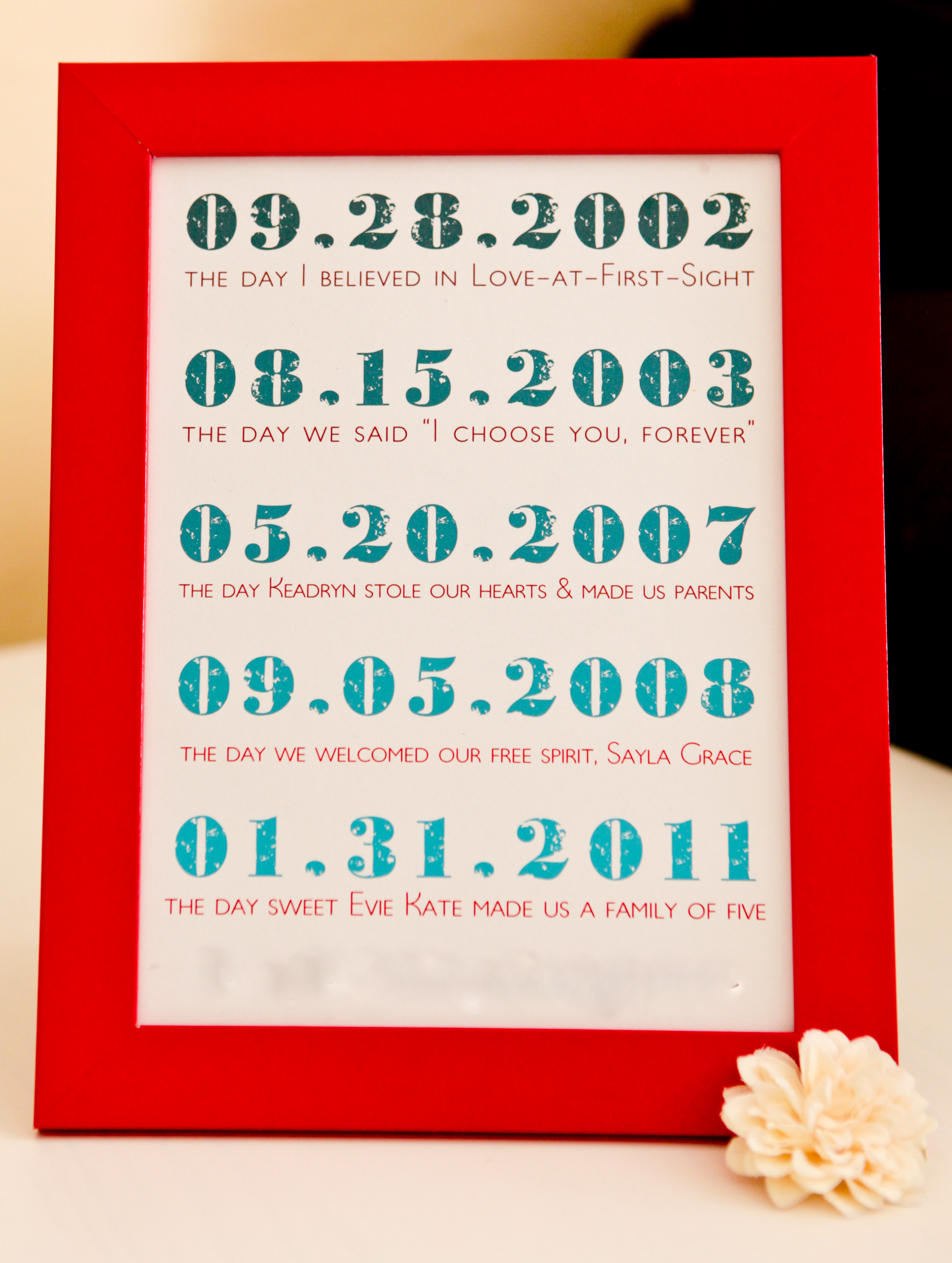 Heres A Lovely Set Of Framed Dates From Kojo Designs