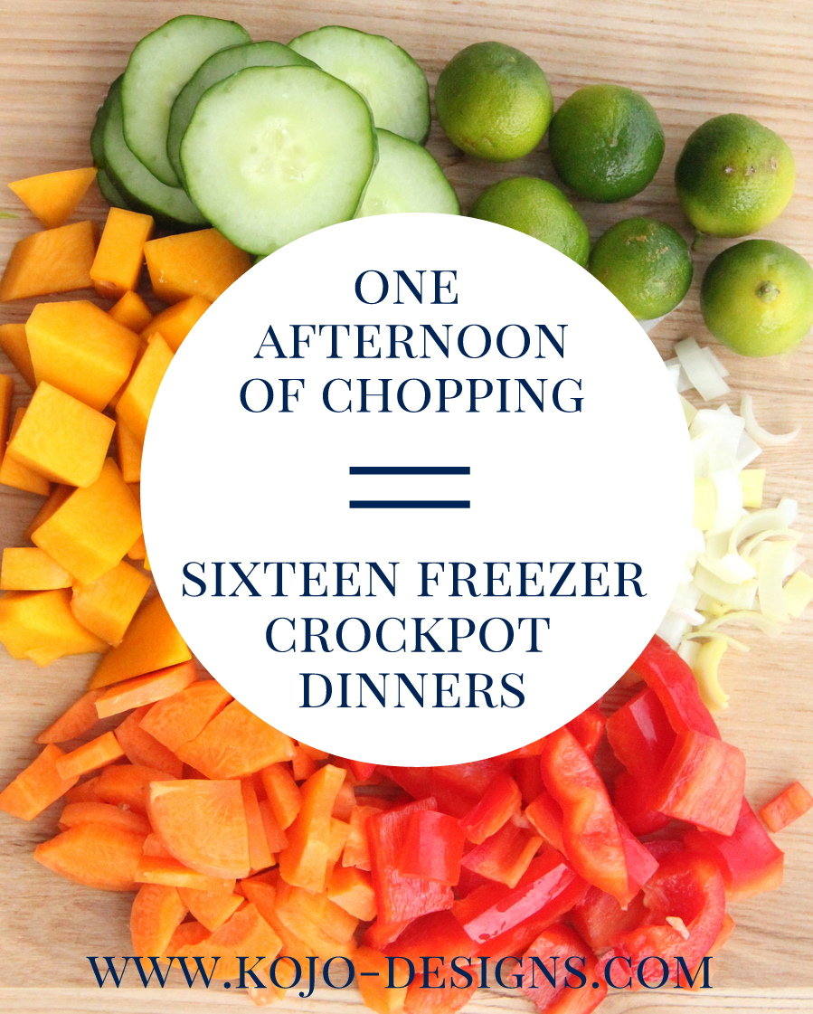 Simplify dinner time- one afternoon of chopping equals sixteen freezer crockpot dinners!