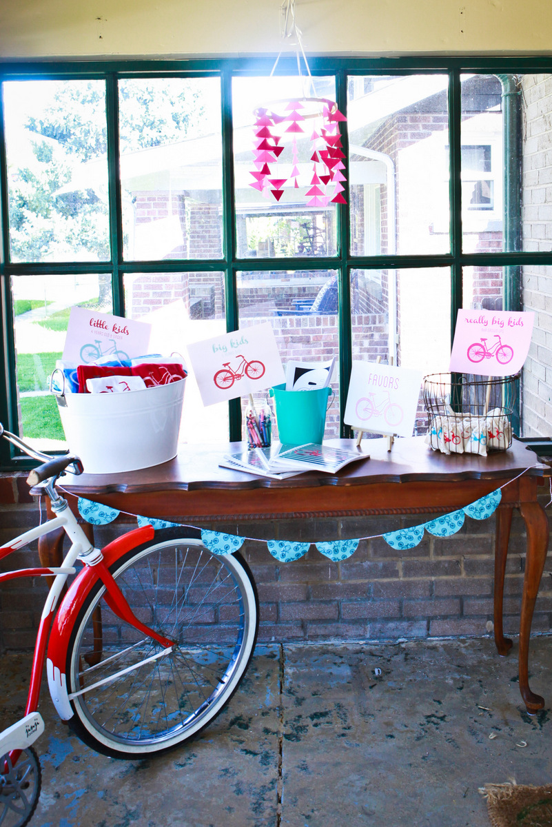 Bicycle Birthday Party In Aqua Red And Pink