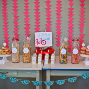 bicycle birthday party (in aqua, red and pink)
