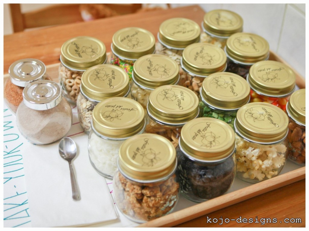 trail mix in jars