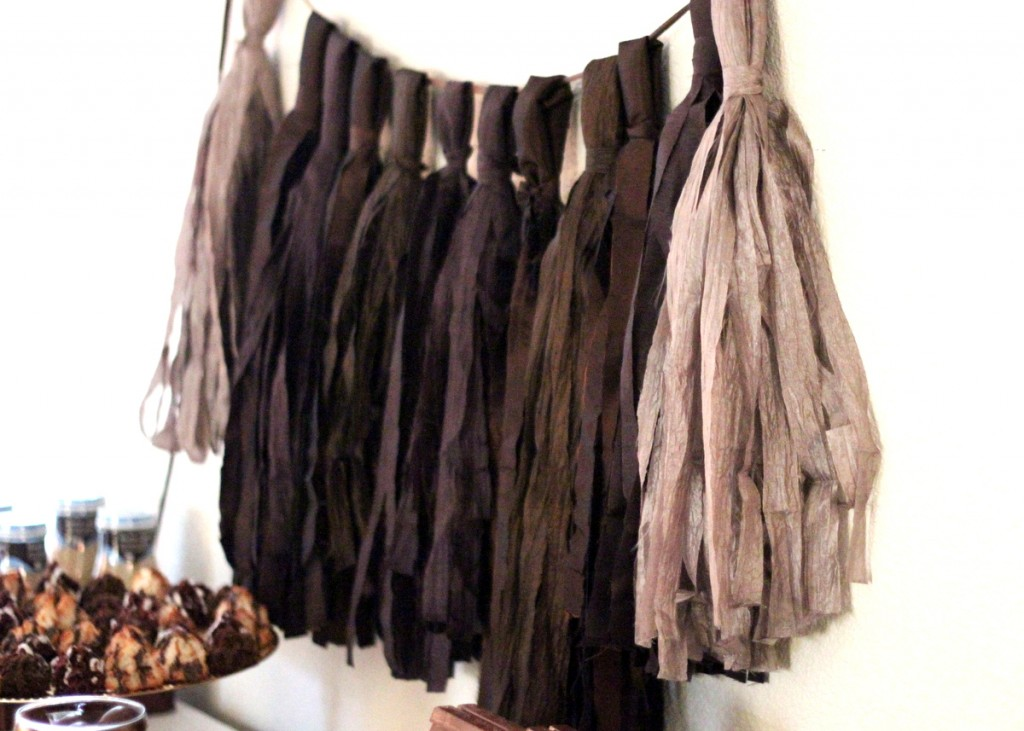 brown silk tassel garland, chocolate shower
