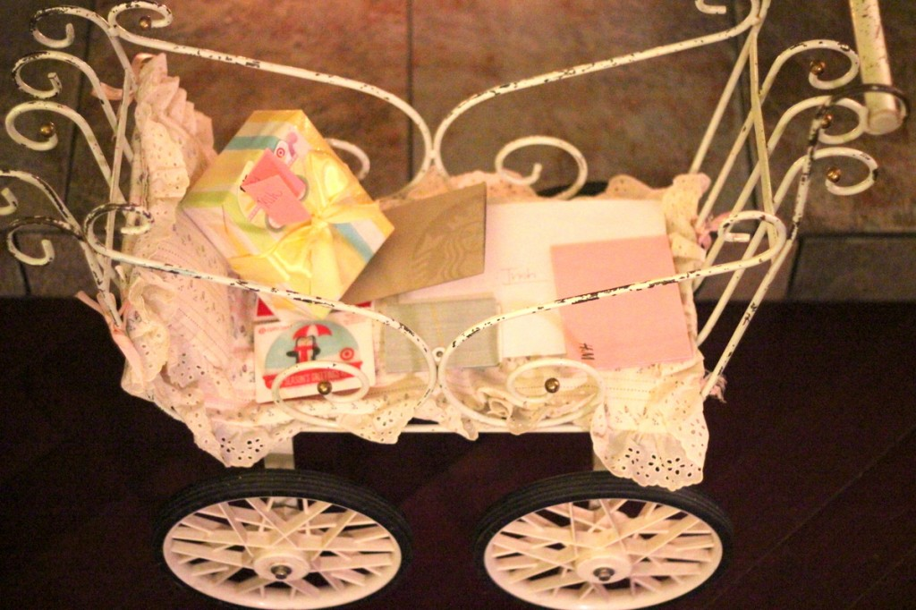 vintage baby buggy, chocolate themed baby shower
