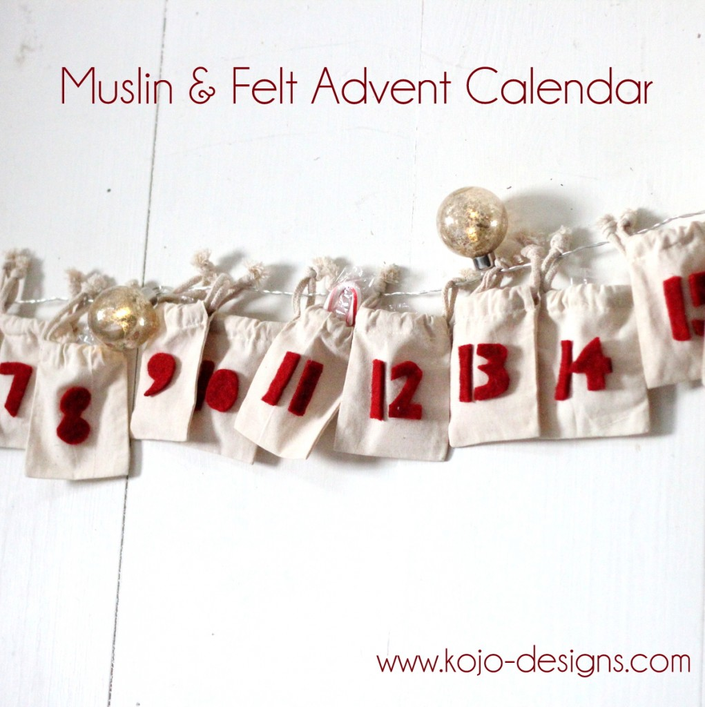 simple muslin and felt DIY advent calendar