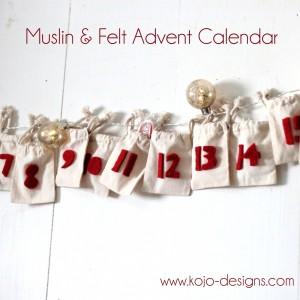 simple muslin and felt DIY advent calendar