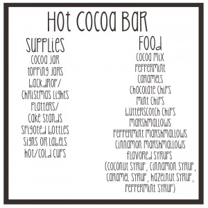 DIY hot cocoa bar (and shopping list)