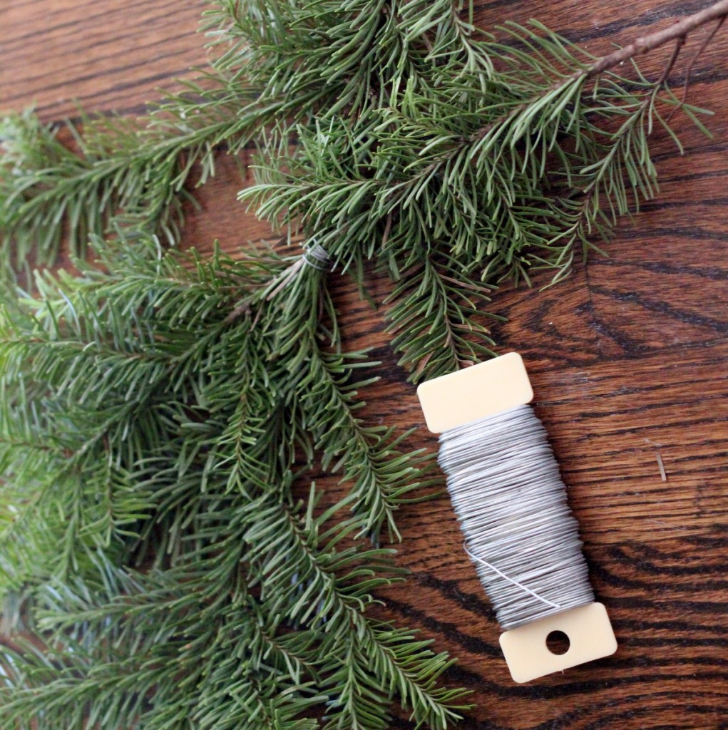 how to make a wreath using extra Christmas tree branches