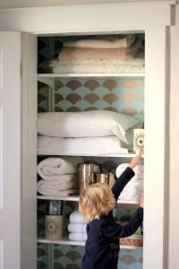 stenciled guest closet