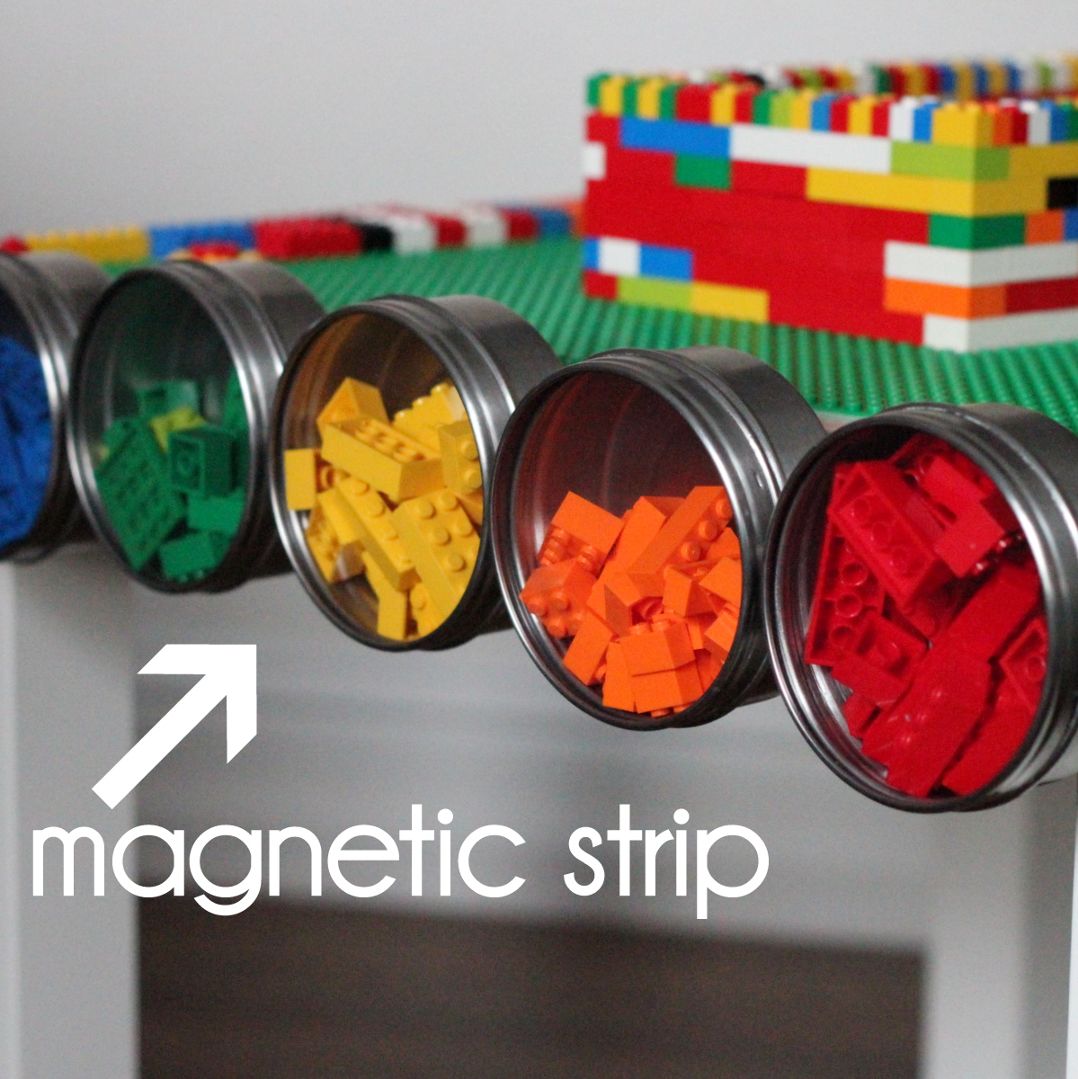 DIY lego table with magnetic strip on one side