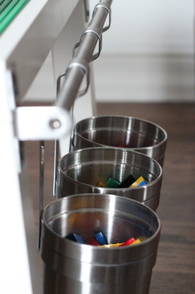 lego table with hanging buckets