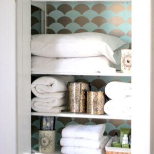 aqua and gold stenciled guest closet