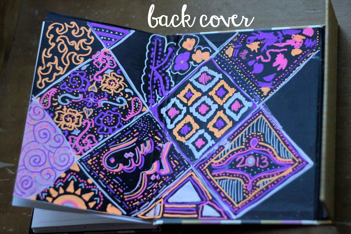 decorated chalkboard back cover, 2013 planner