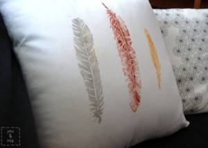 how to make a custom stamp (and a feather stamped pillow)