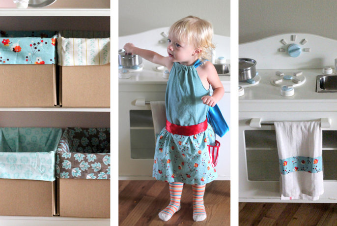 DIY play kitchen and kitchen accessories