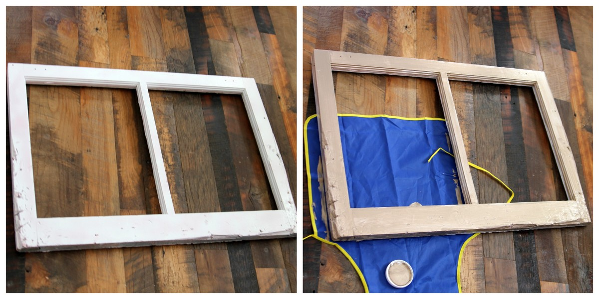 painting a window with metallic paint