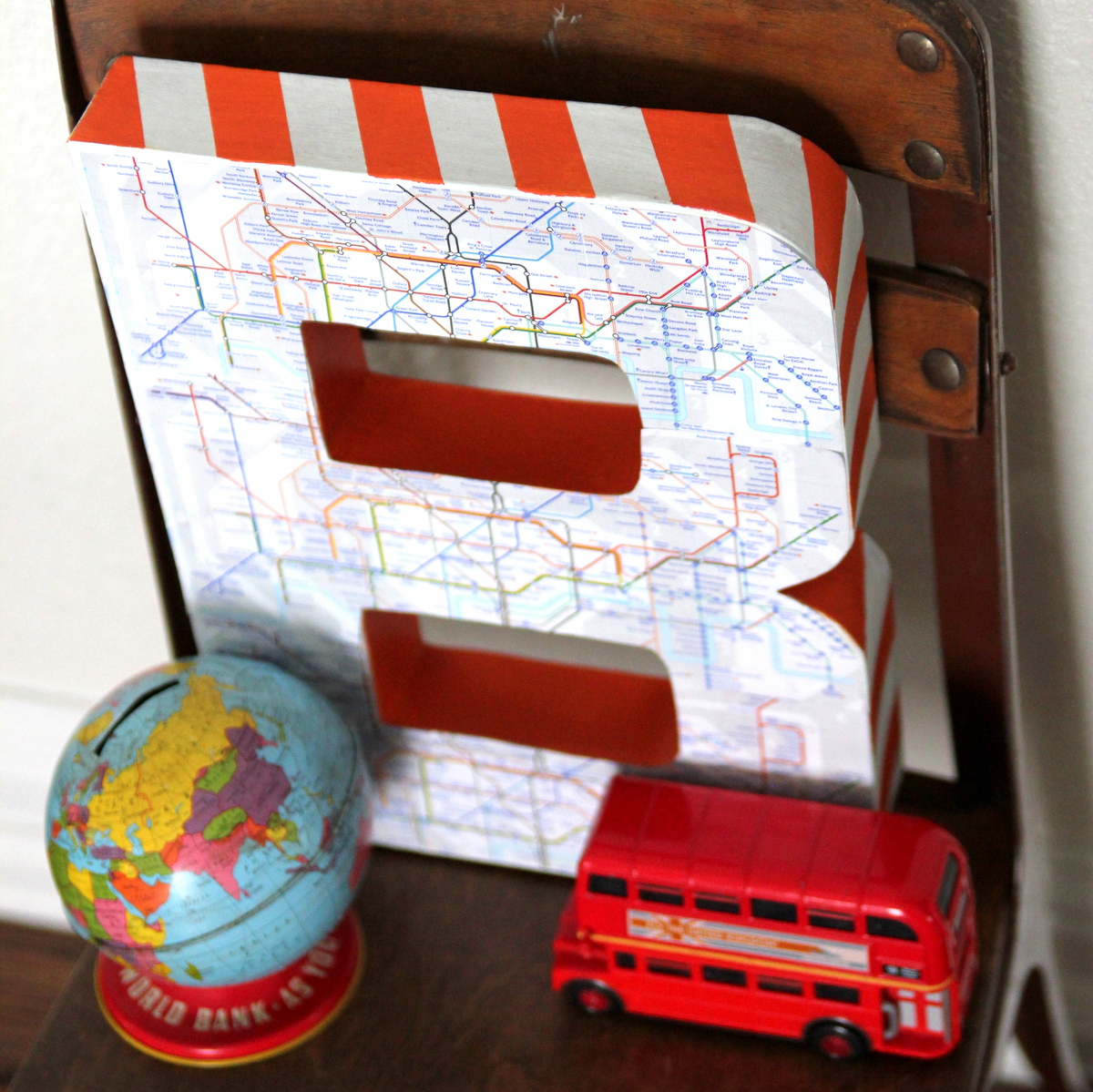 DIY map covered monogram