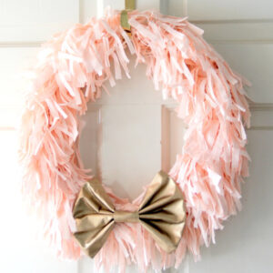 DIY spring wreath in pink and gold