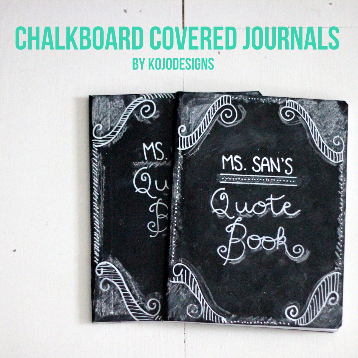 teacher appreciation gift idea- chalkboard covered journals