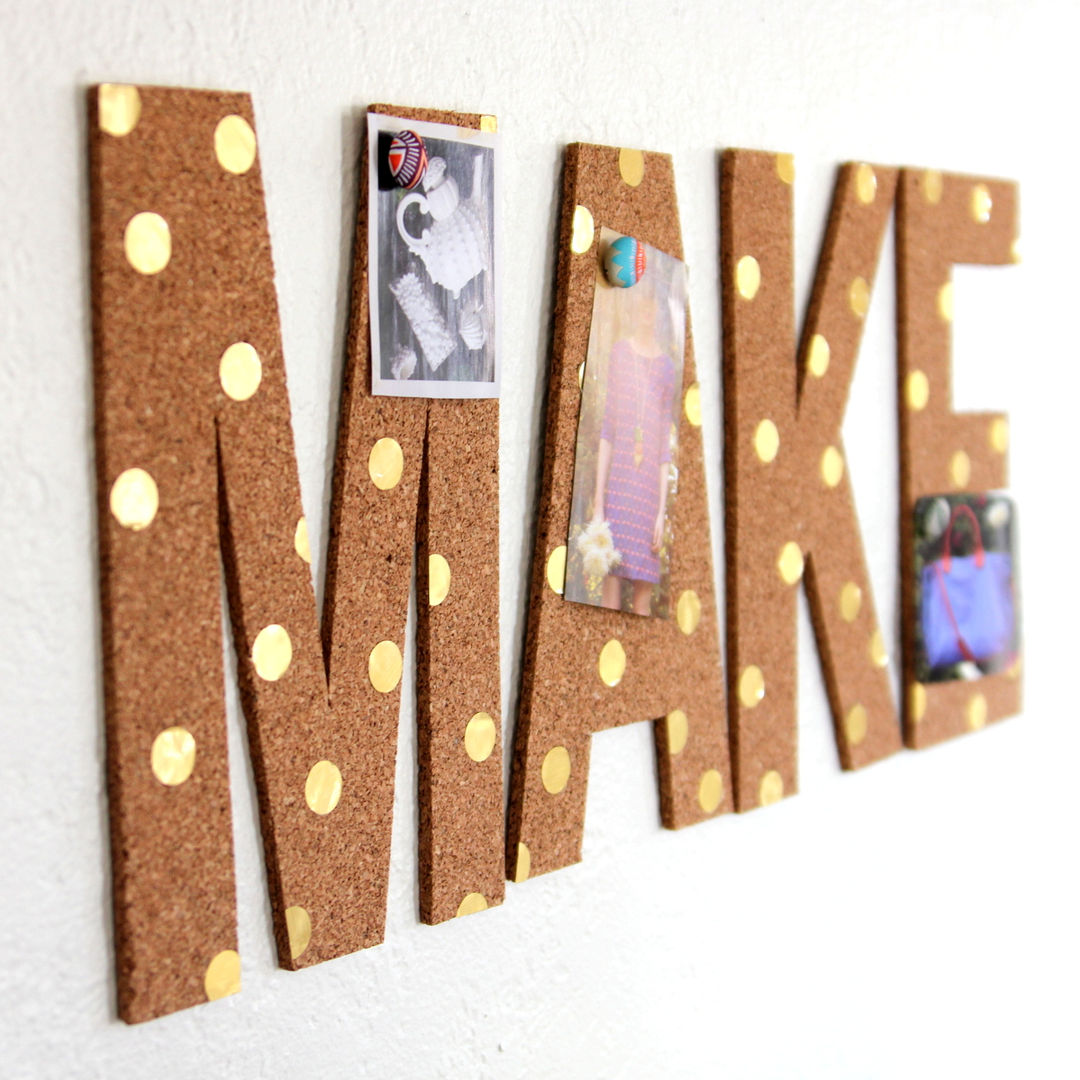 polka dot cork inspiration board