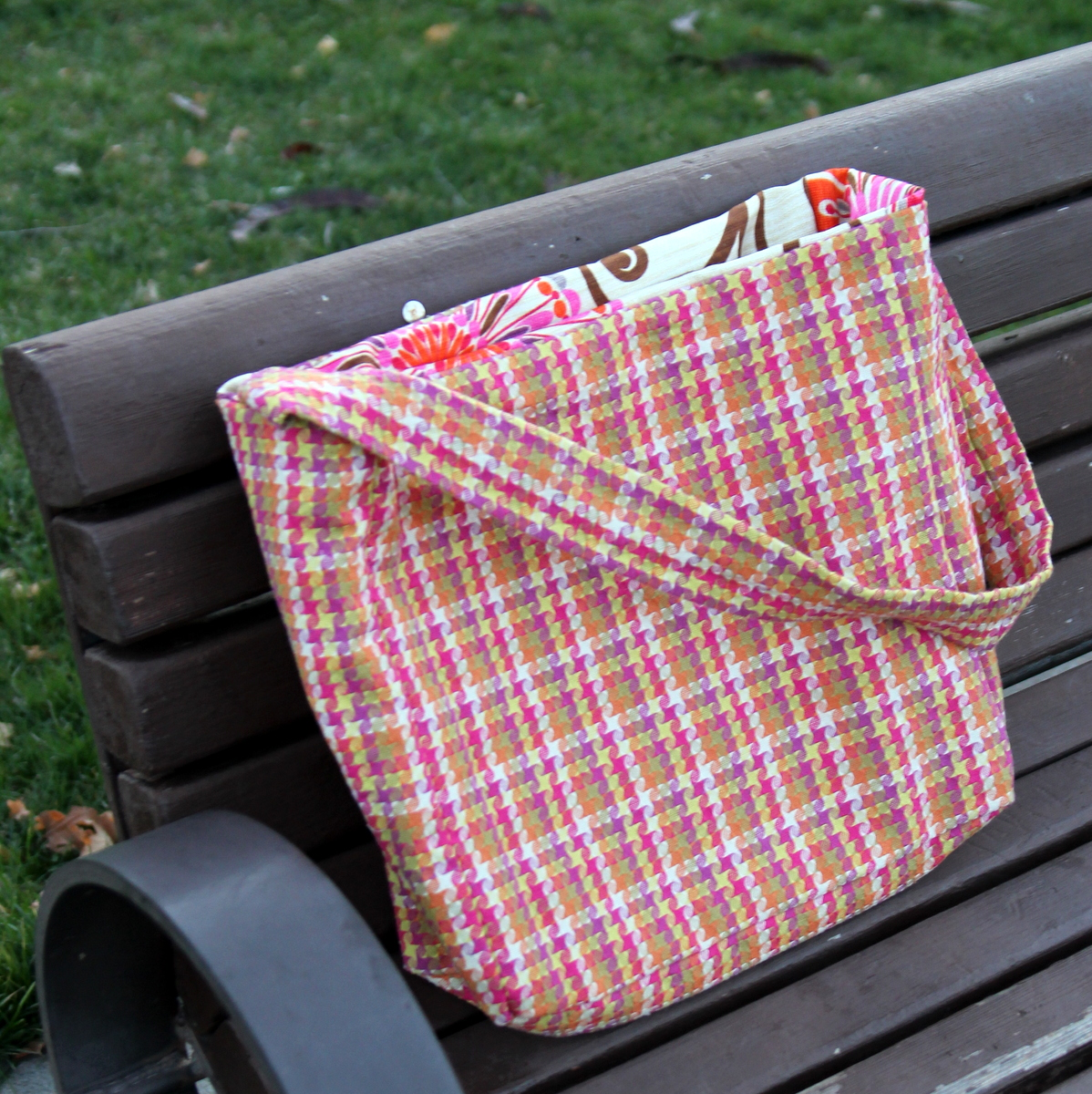 how to sew a plaid tote