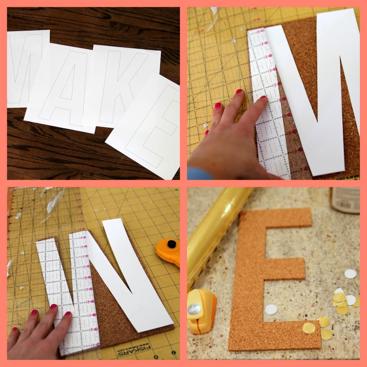 how to make polka dot cork letters