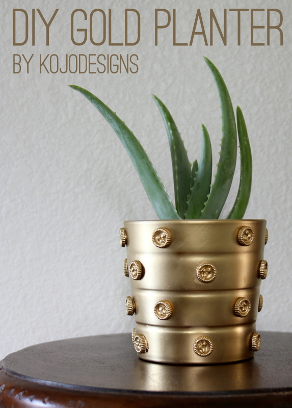 DIY gold planter pot- use Mod Podge Melts and spray paint to transform a basic pot into a shiny decor statement
