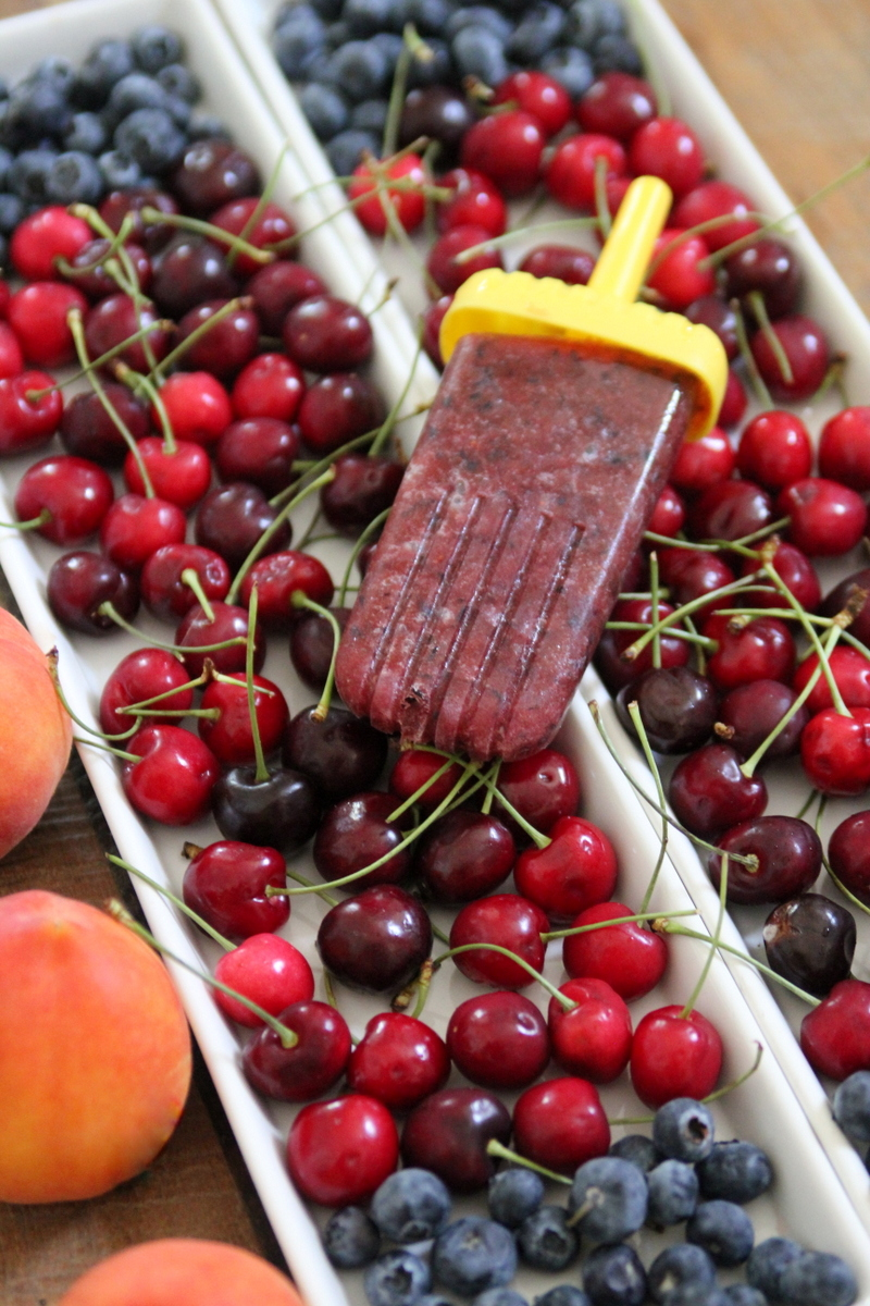 cherry peach blueberry popsicles