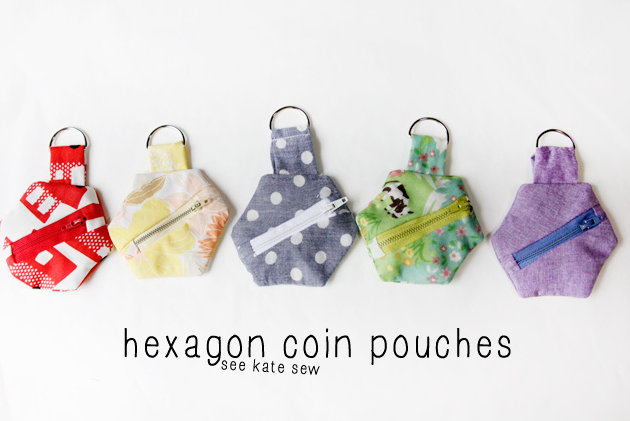 hexagon coin purses with see kate sew