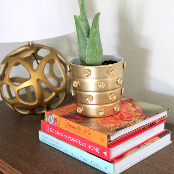 DIY gold planter pots