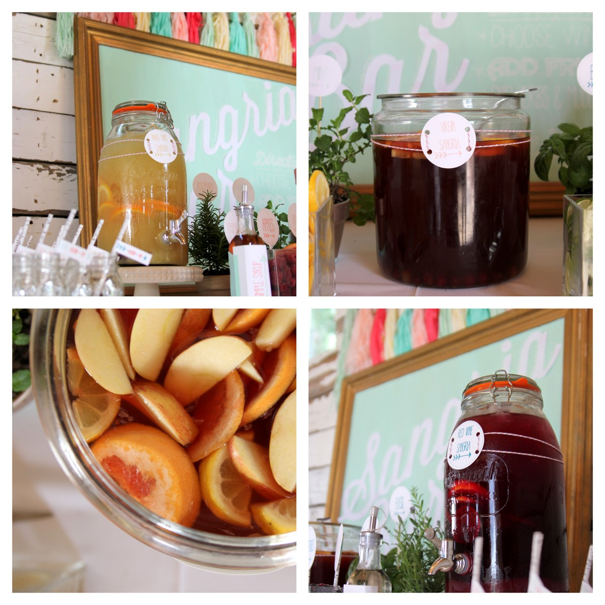 sangria bar drink station- three kinds of sangria