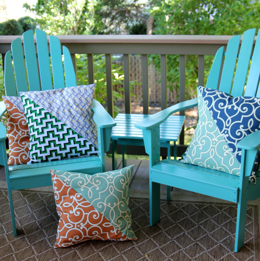 a rainbow of porch pillows