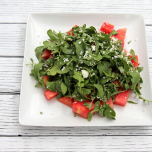 arugula and watermelon salad with citrus vinaigrette
