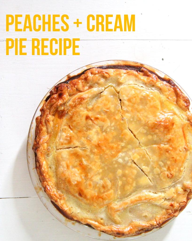 peaches and cream pie recipe- made with greek yogurt!