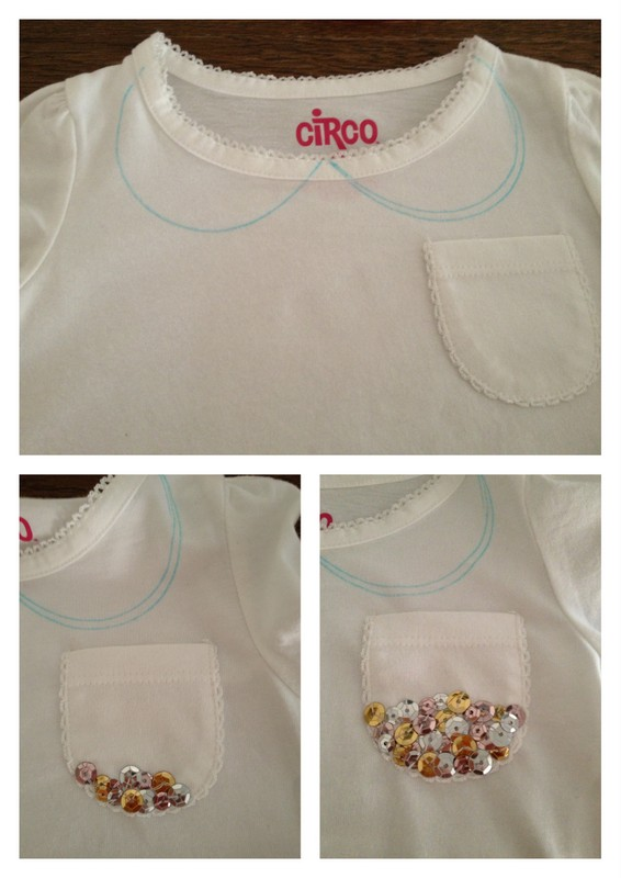 DIY sequin collar shirt