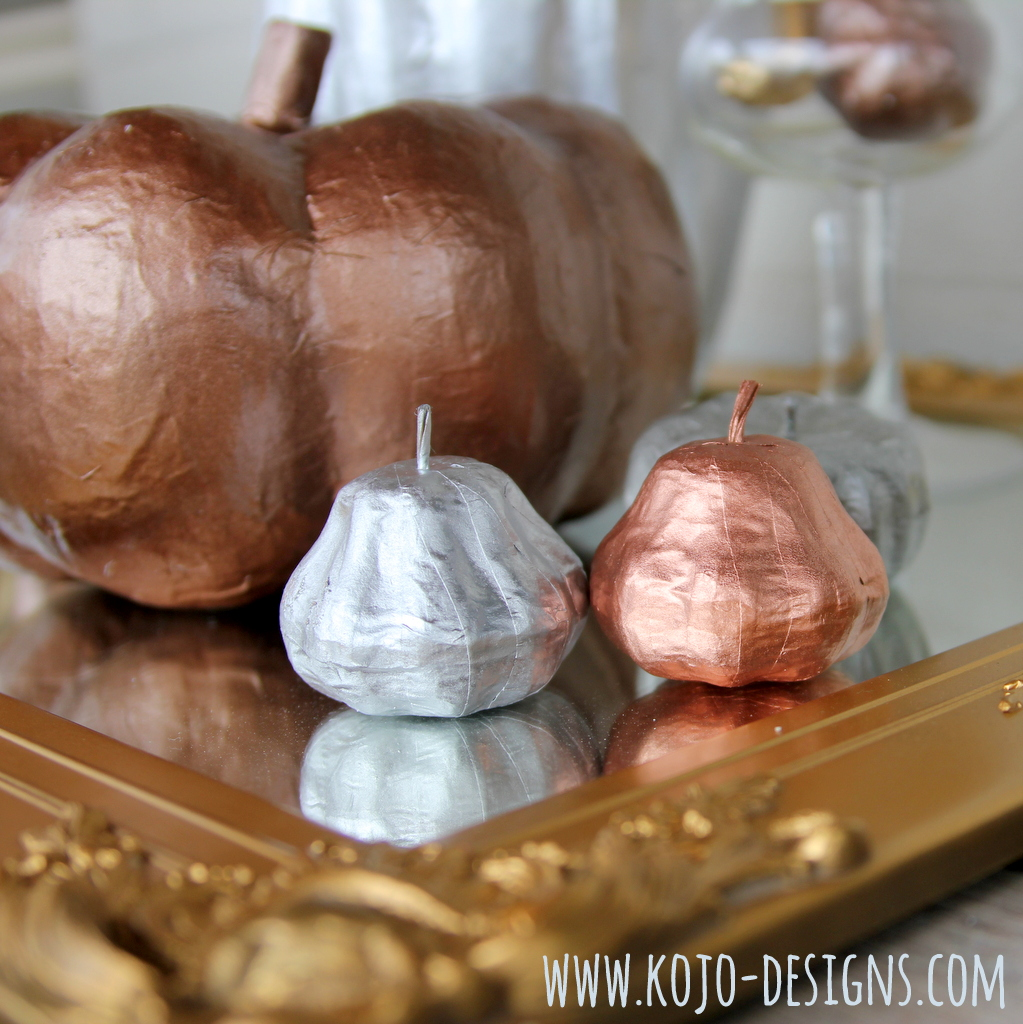 how to make copper, silver and gold pumpkins by kojodesigns for spooktacular at eighteen25