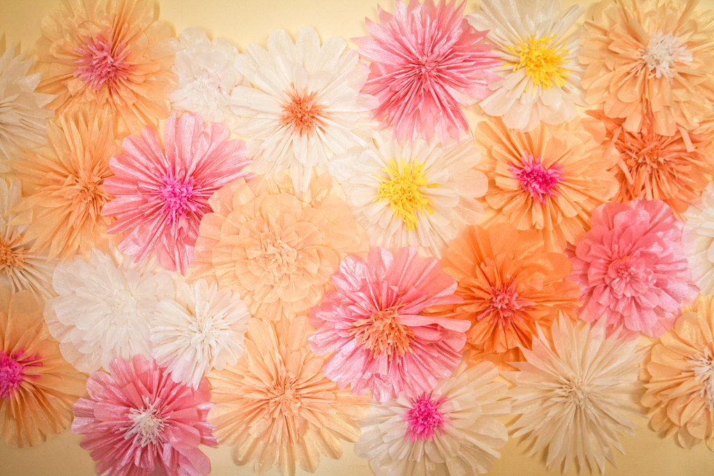 crepe paper flower backdrop