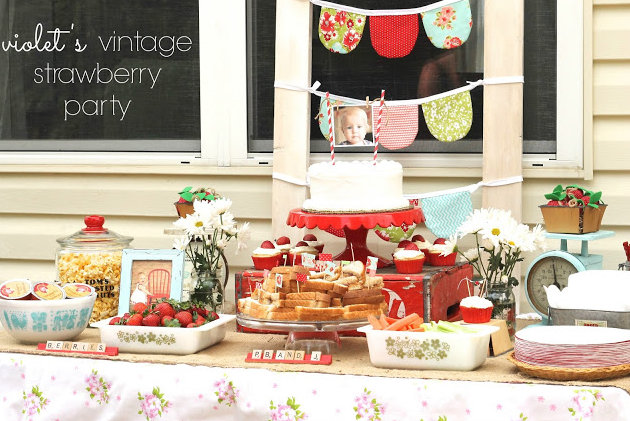 vintage strawberry birthday party