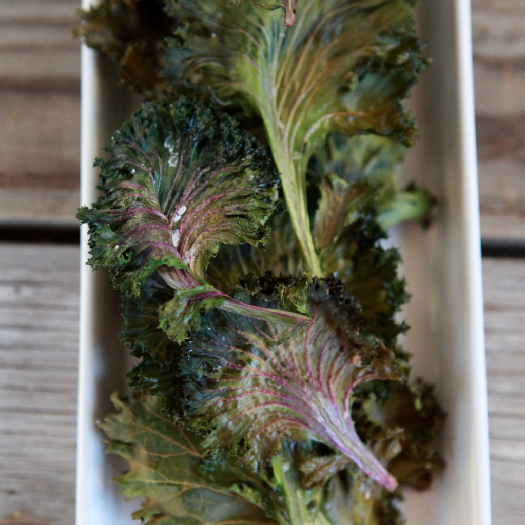 roasted kale chips- yummy and healthy