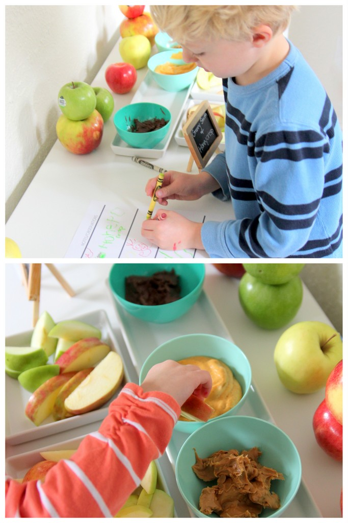 fall kids' activity- apple sampling (with free printable chart)