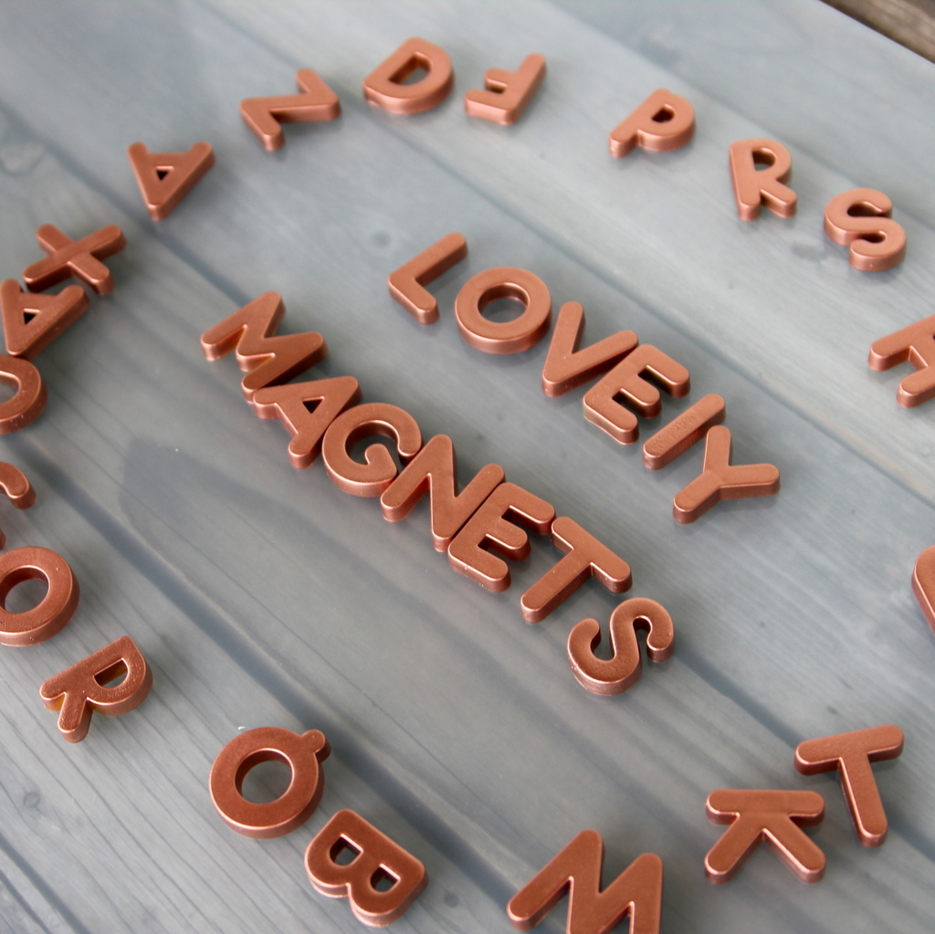 metallic alphabet fridge magnets- would make a good easy (and fun) gift