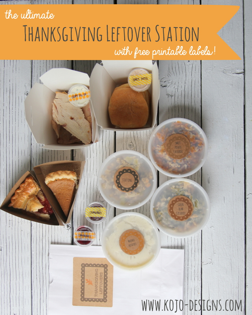the ultimate thanksgiving leftover station with free printable labels