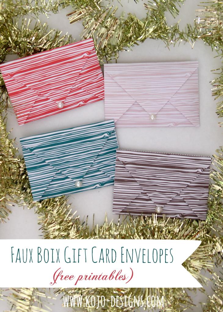 faux bois gift card envelopes- free printables