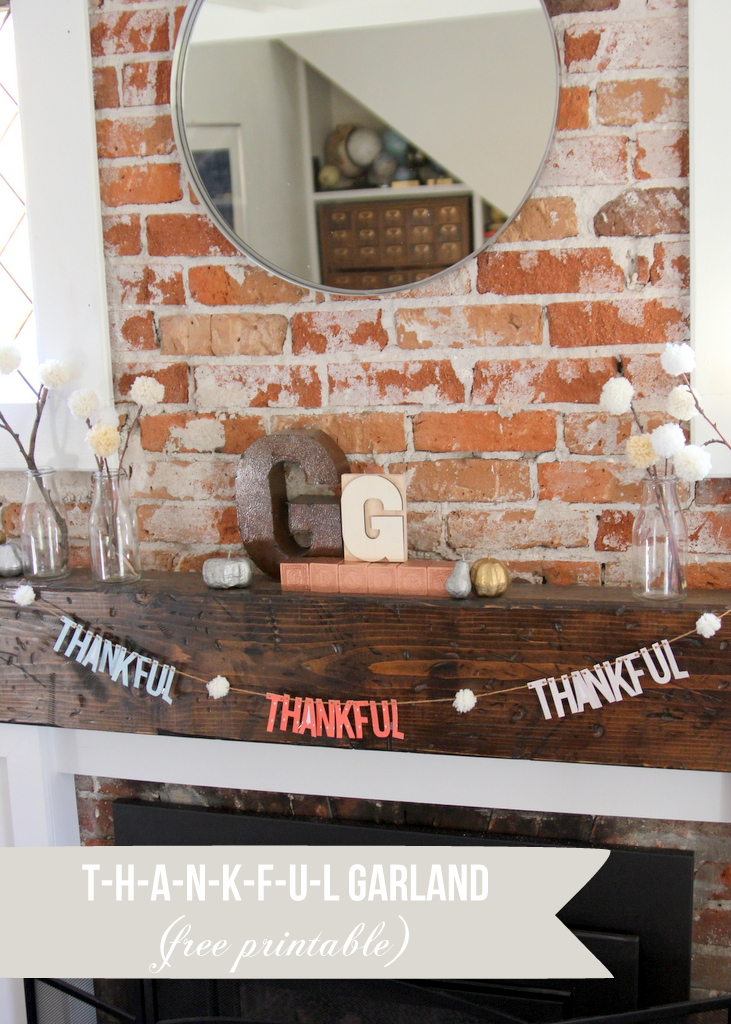fall mantel and printable thankful garland