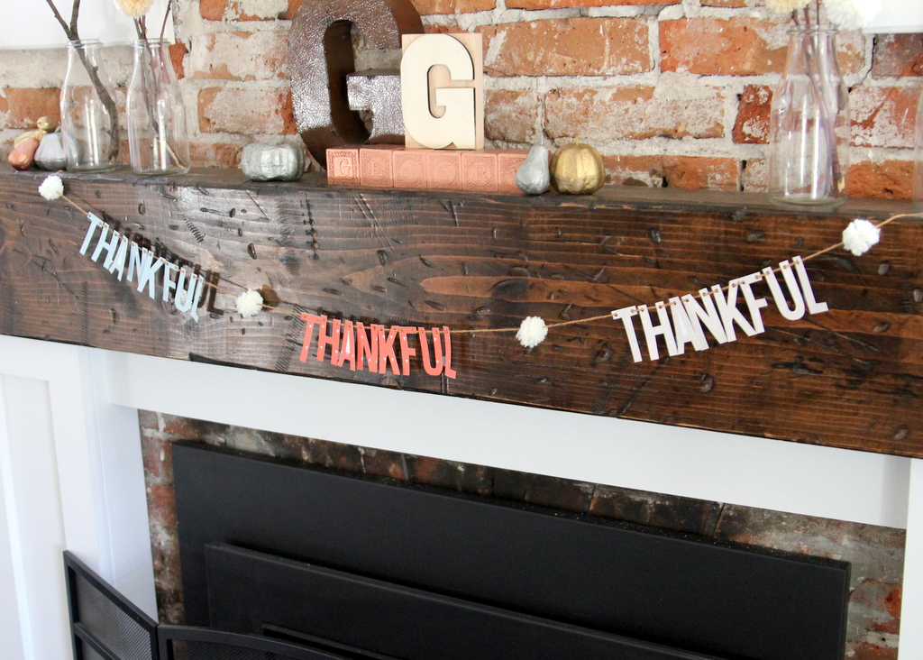 fall mantel and thankful garland printable decor