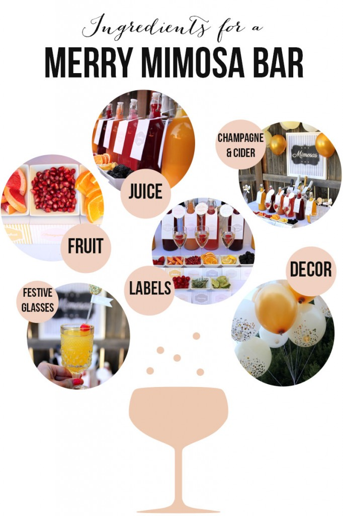'Ingredients for a Merry Mimosa Bar' (how to put together a Mimosa Station)
