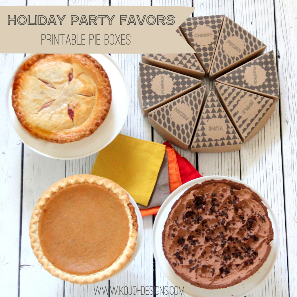 holiday party favors- printable pie boxes (free printable file!)
